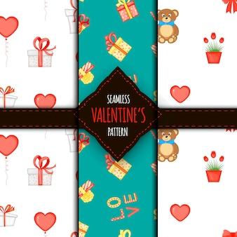완벽 한 패턴의 발렌타인 세트입니다. 만화 스타일입니다. 벡터 일러스트 레이 션.