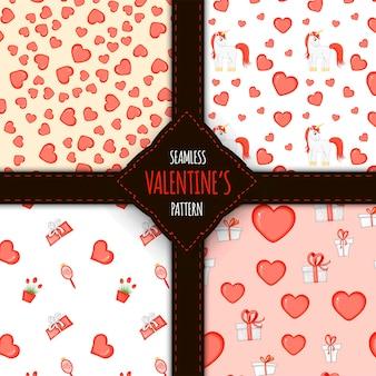 Набор бесшовных паттернов ко дню святого валентина. мультяшный стиль. векторная иллюстрация.