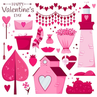 Valentine's day set. pink house, candy, gift, flowers, trees, lighthouse, garland.