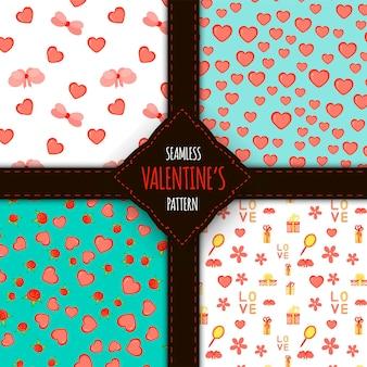 Valentine's day set of seamless patterns. cartoon style. vector illustration.