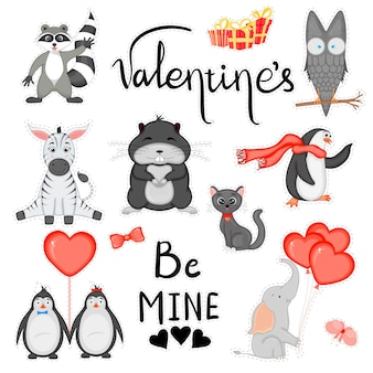 Valentine's day set of stickers for the design of postcards or stickers. cartoon style. vector illustration.
