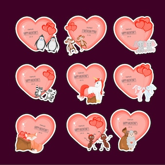 Valentine's day set of stickers with hearts and cute animals. cartoon style.