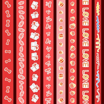 Valentine's day set of tapes. cartoon style. vector illustration.