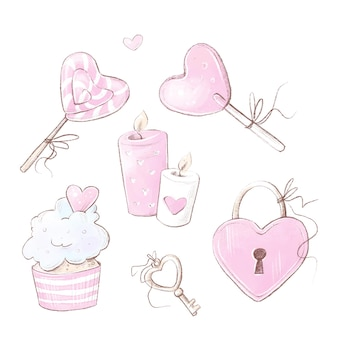 バレンタインデーセット。水彩イラスト。