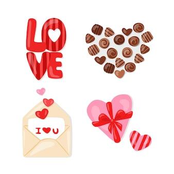 キャンディーとハートで設定されたバレンタインデー。