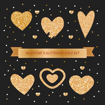 Valentine's day set with gold glittery doodle hearts