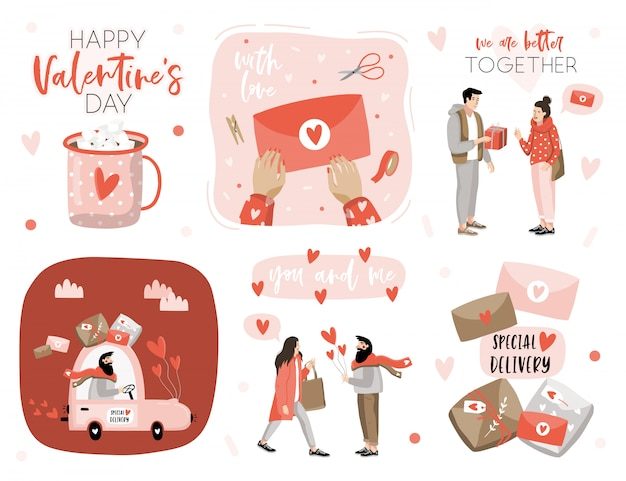 Valentine's day set with love elements.