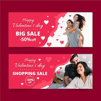 Valentine's day shopping sale banners with photo