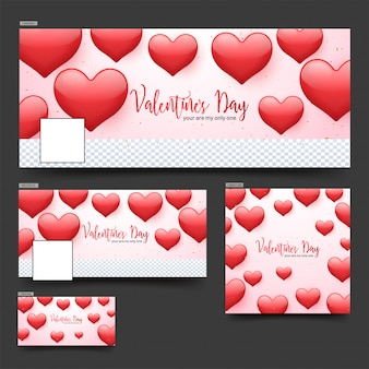 Valentine's day social media header or banner set decorated with