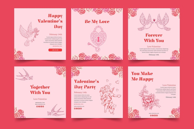 발렌타인 데이 소셜 미디어 게시물 모음