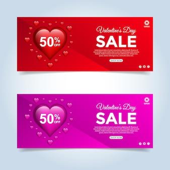 Valentine's day special offer sale banner set