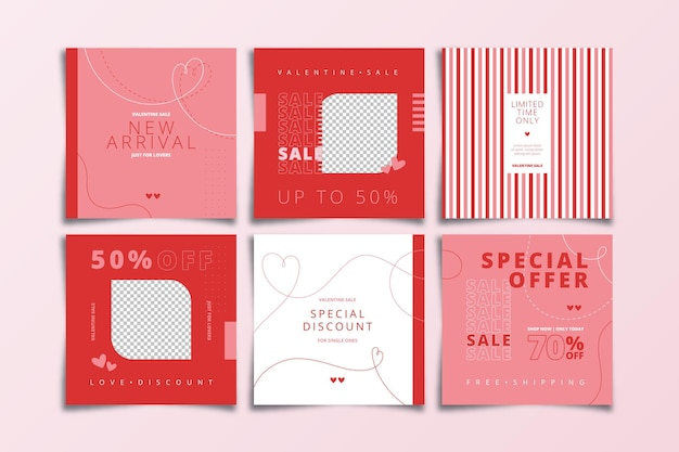 Valentine's day special sale instagram post pack