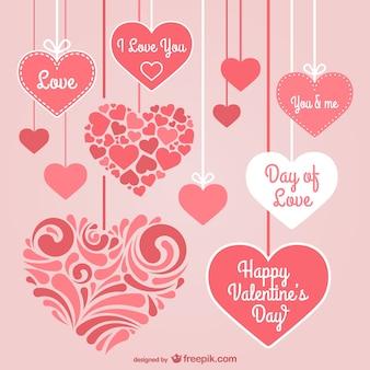 Valentine's day stationery hearts Premium Vector