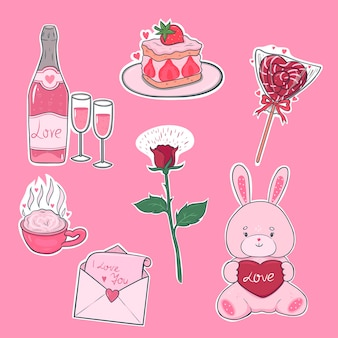 Valentine s day stickers in pink colors. vector graphics