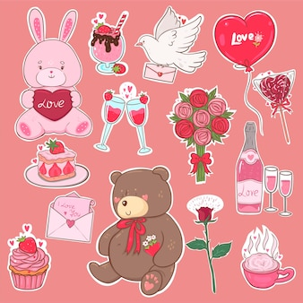 Valentine's day stickers in pink colors.