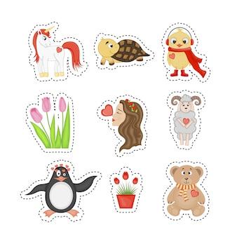 귀여운 동물들과 함께 발렌타인 데이 스티커.
