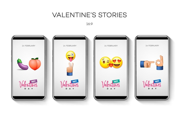 Valentine's day stories template, vector illustration.