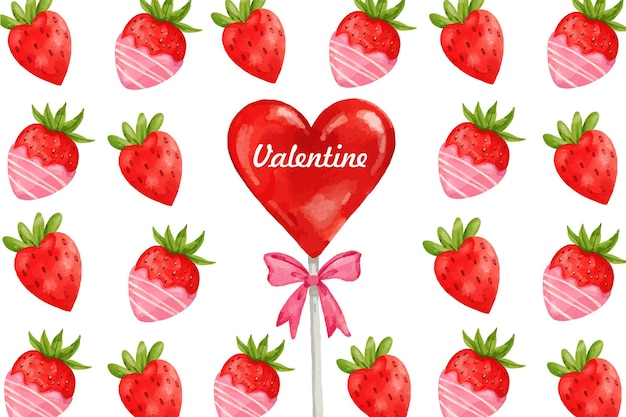 Valentine's day strawberry candy watercolor background