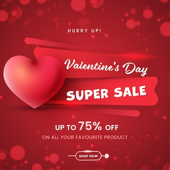 Valentine's day super sale poster design with discount offer and  heart on red bokeh background.