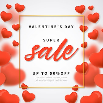 Valentine's day super sale with hearts background