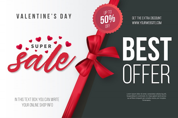 Valentine's day super sale with realistic ribbon Free Vector