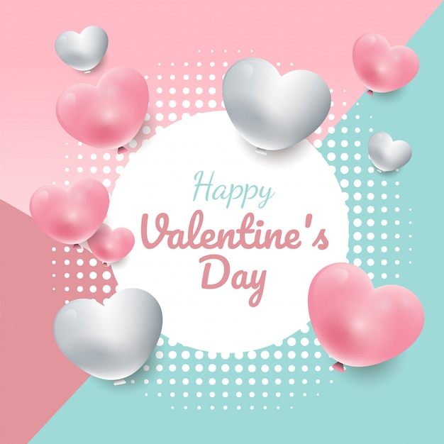 Valentine's day sweet color background with 3d hearts circle frame, banner vector