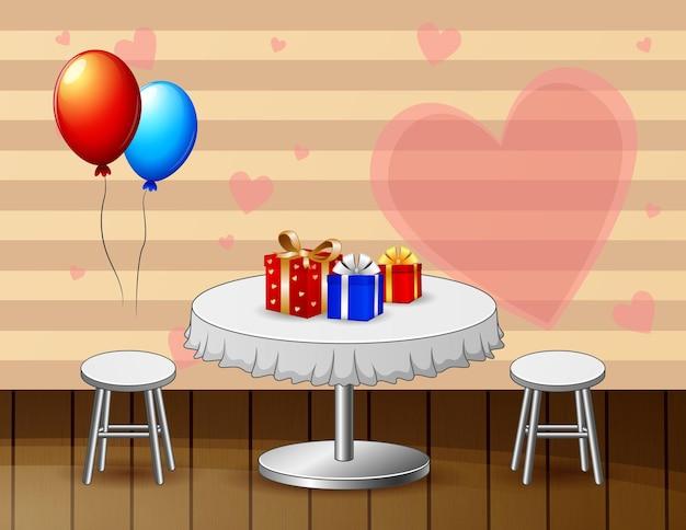 Стол ко дню святого валентина для пар в ресторане