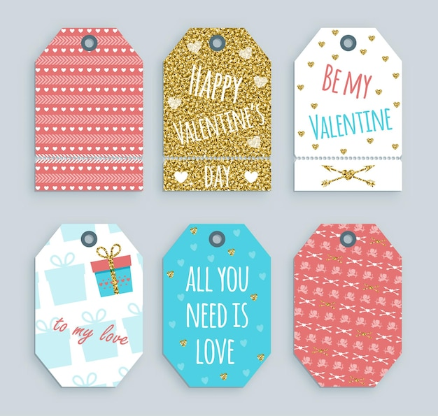 Valentine's day tag with gold ornaments