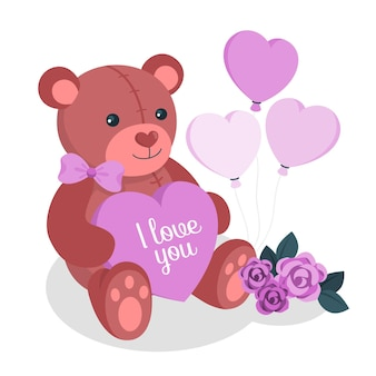 Valentine's day teddy bear concept illustration