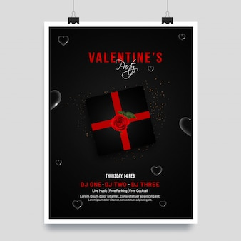 Valentine's day template or invitation card design with illustra