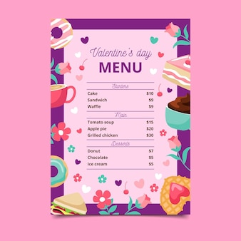 Valentine's day template for menu