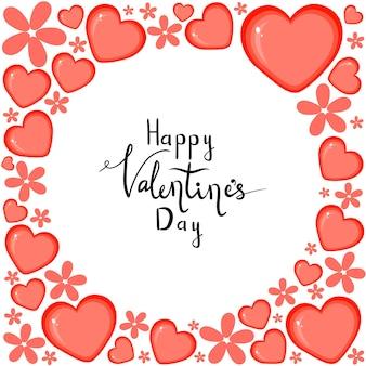 Шаблон дня святого валентина с сердечками. мультяшный стиль. векторная иллюстрация.