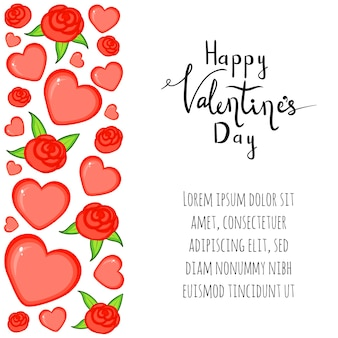Valentine's day template with hearts. cartoon style. vector illustration.