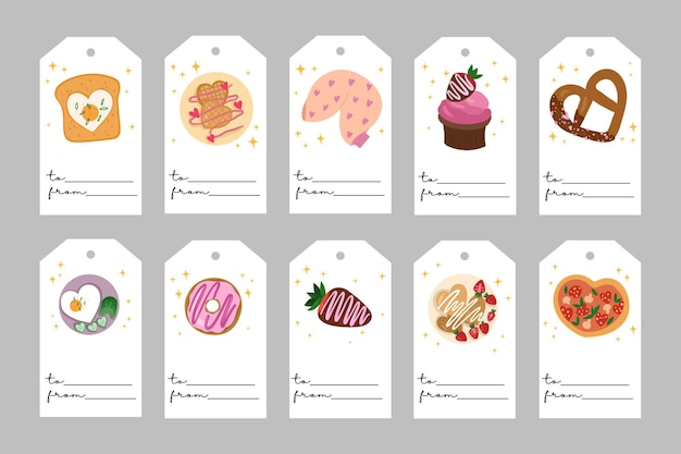 Valentine's day templates. romatic labels with love food. all tags are isolated. hand drawn illustration.