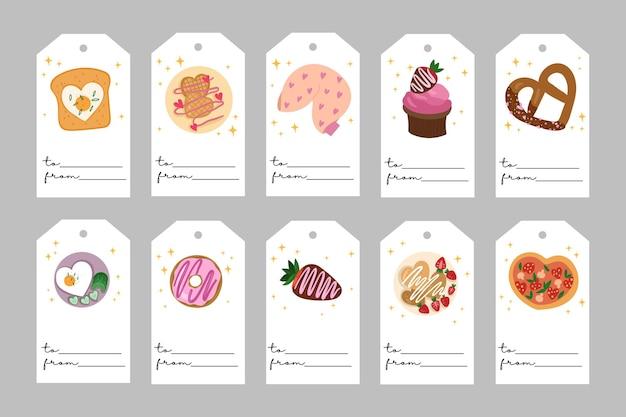 バレンタインデーのテンプレート。愛の食べ物とロマンチックなラベル。すべてのタグが分離されています。手描きイラスト。