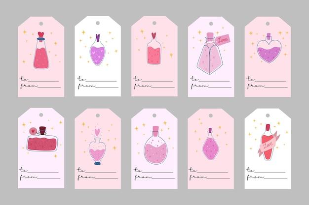 バレンタインデーのテンプレート。愛の呪文とロマンチックなラベル。すべてのタグが分離されています。手描きイラスト。