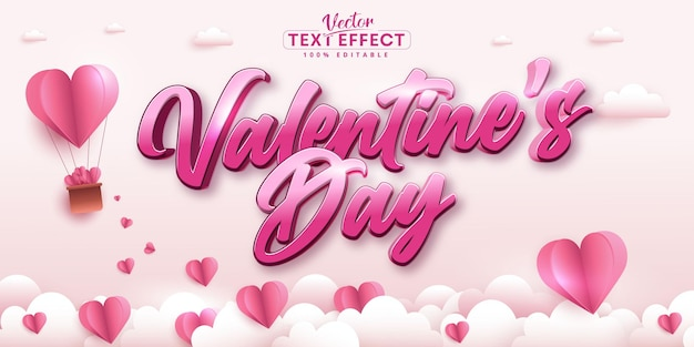 Valentine's day text, calligraphic style editable text effect on paper art style pink color background