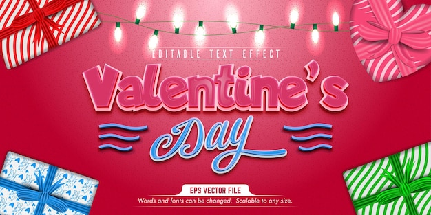 Valentine's day text, love style editable text effect