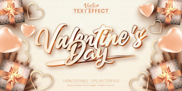Valentine's day text, rose gold color style editable text effect