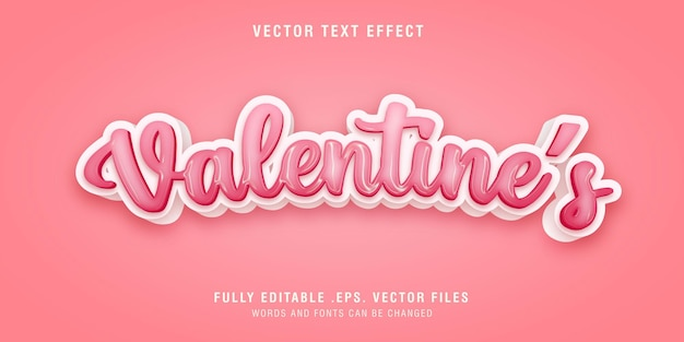 Valentine's day text style effect editable