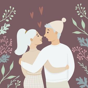 발렌타인 데이. 사랑에 빠진 커플. 사랑, 사랑 이야기, 관계. 인사말 카드.