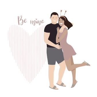 발렌타인 데이. 사랑에 빠진 커플. 사랑, 사랑 이야기, 관계. 인사말 카드. 프리미엄 벡터