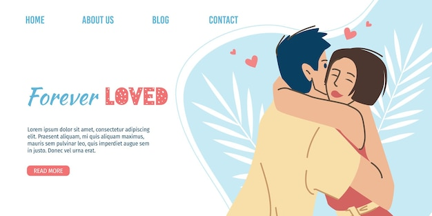 フラットなイラストのバレンタインデーのテーマのランディングページ