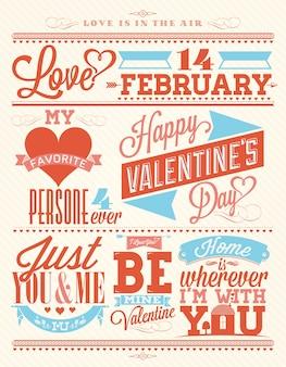 Valentine's day typographical background set