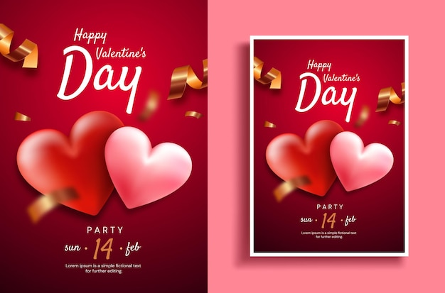 Valentine's day. valentine's day party flyer template. hearts on a red background with serpentine.
