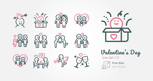 Valentine's day vector icon collection with outline stroke