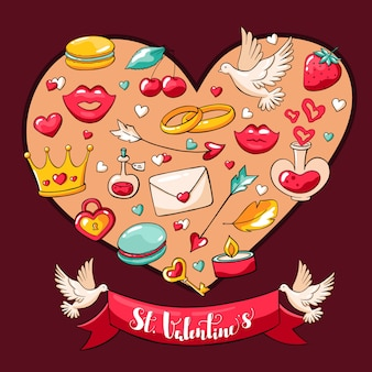 Valentine's day vector postcard