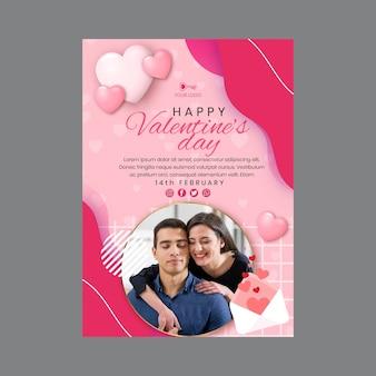 Valentine's day vertical flyer template Premium Vector