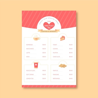Valentine's day vertical menu template