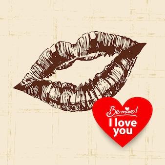 День святого валентина старинный фон. рисованной иллюстрации с баннером в форме сердца. губы